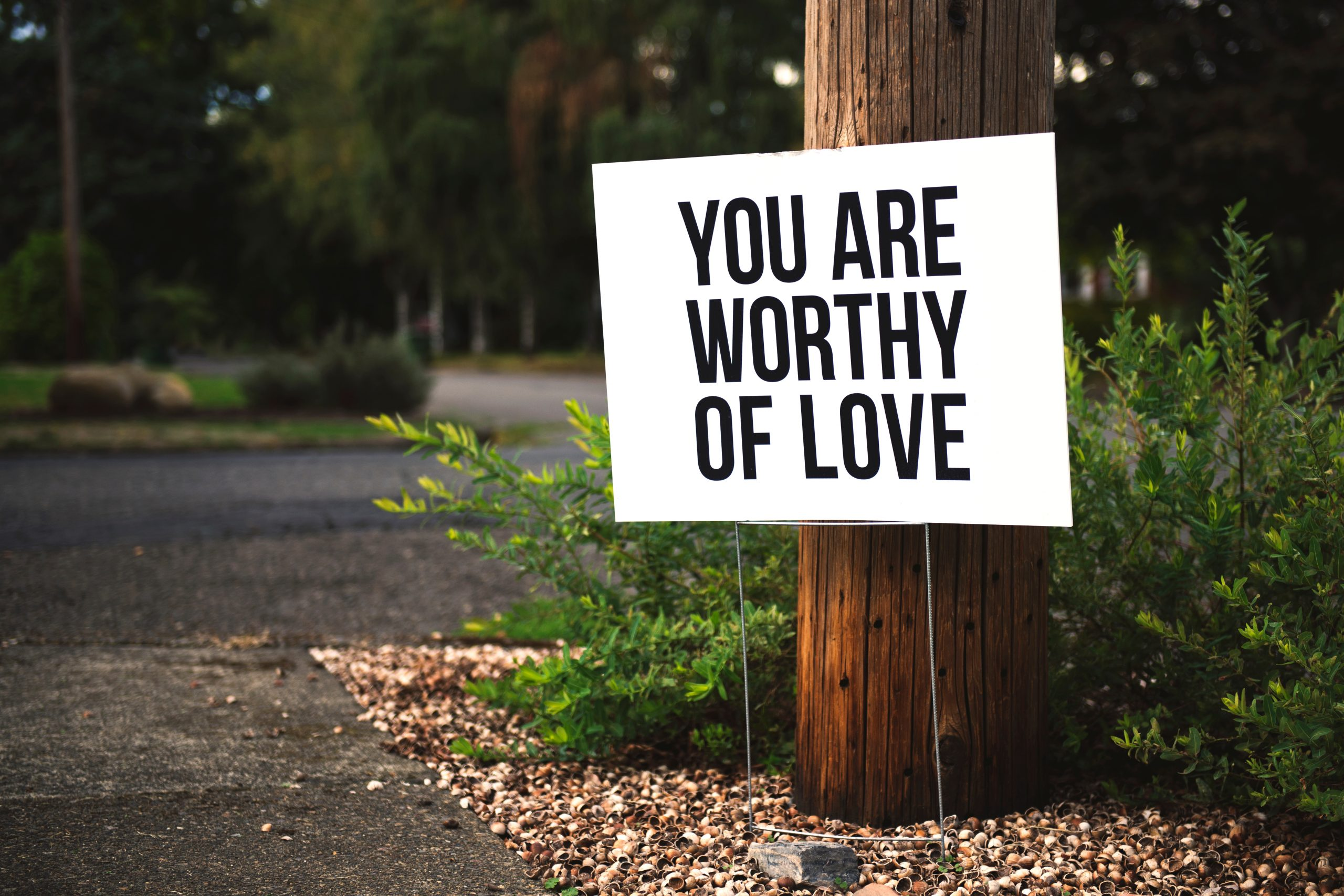 Canva You Are Worthy of Love Signage on Brown Wooden Post Taken scaled