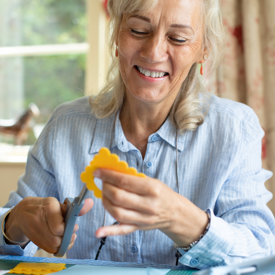 Happy woman crafting